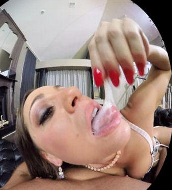 Abigail Mac eats cum in virtual reality porn