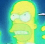 Homer Simpson glowing