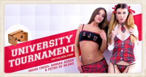 Misha Cross Amirah Adara University Tournament virtual porn movie cover