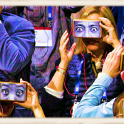 crowd with Google cardboard viewers