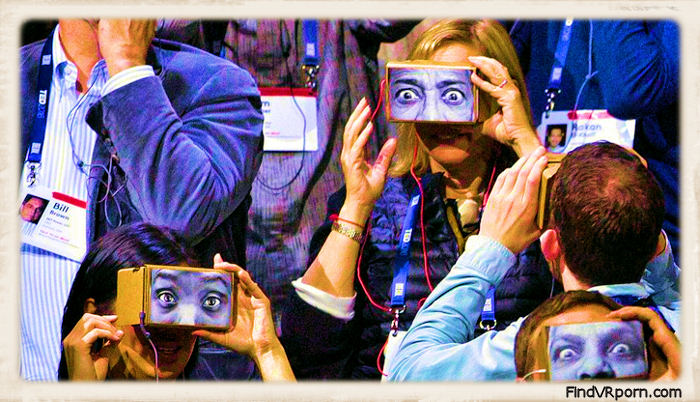 crowd with Google cardboard viewers