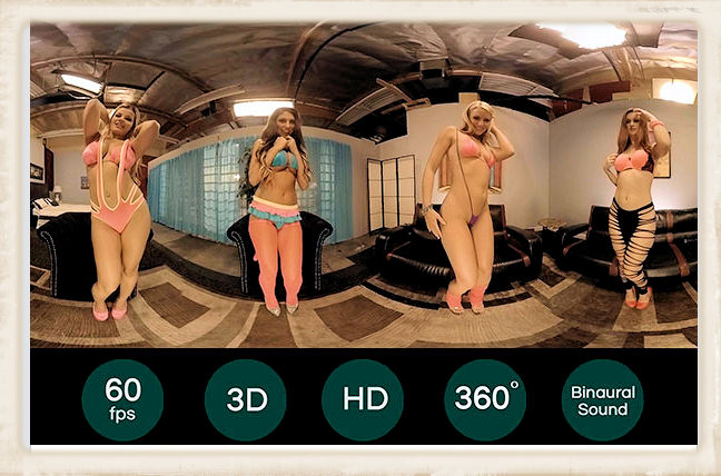 Example of HoloGirls early 360 degree VR orgies with very famous pornstars