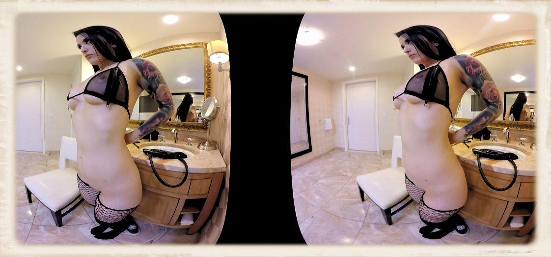 Katrina Jade prepares herself in bathroom