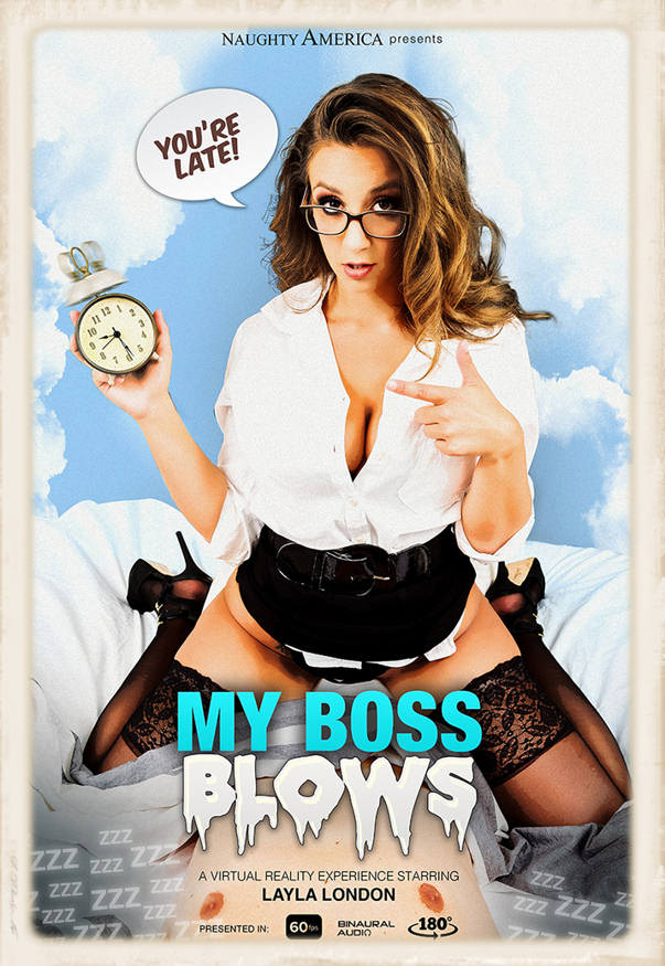 Promo graphic for Naughty America VR's feature, My Boss Blows, starring Layla London and Ryan Driller