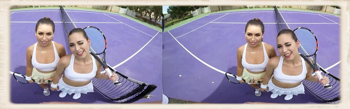 Melissa Moore and Riley Reid as tennis players