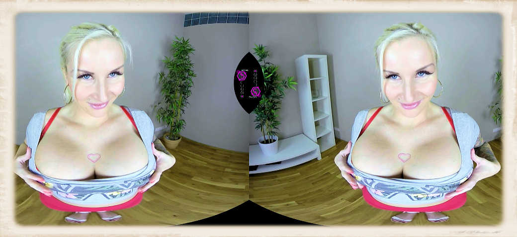 Blonde beauty proud of her heavenly funbags in a Czech VR movie