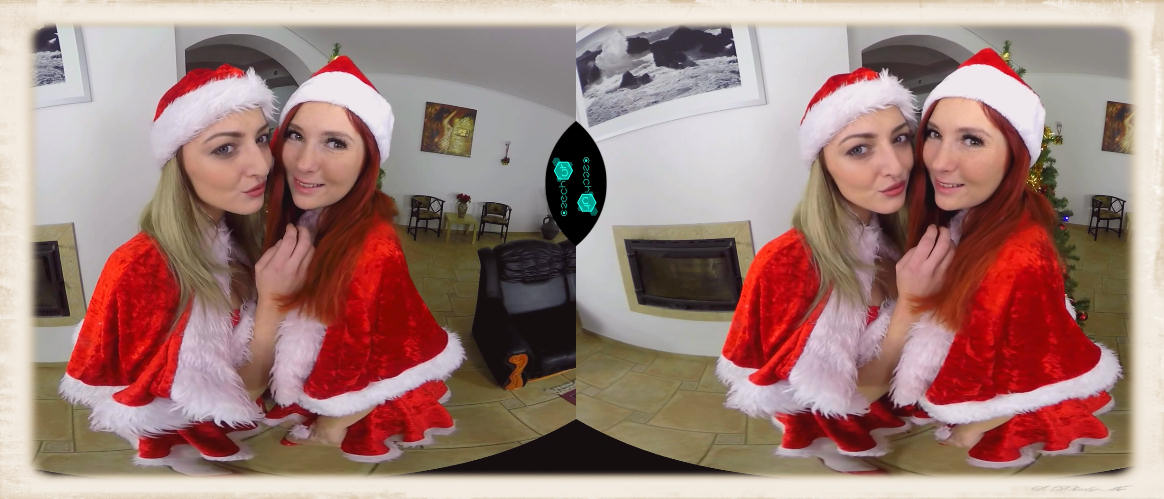 Katy Rose and Kattie Gold in a free Christmas VR from the good folks at Czech VR