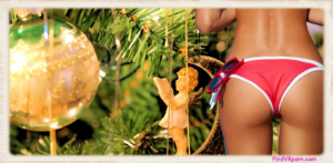 Christmas tree bikini ass