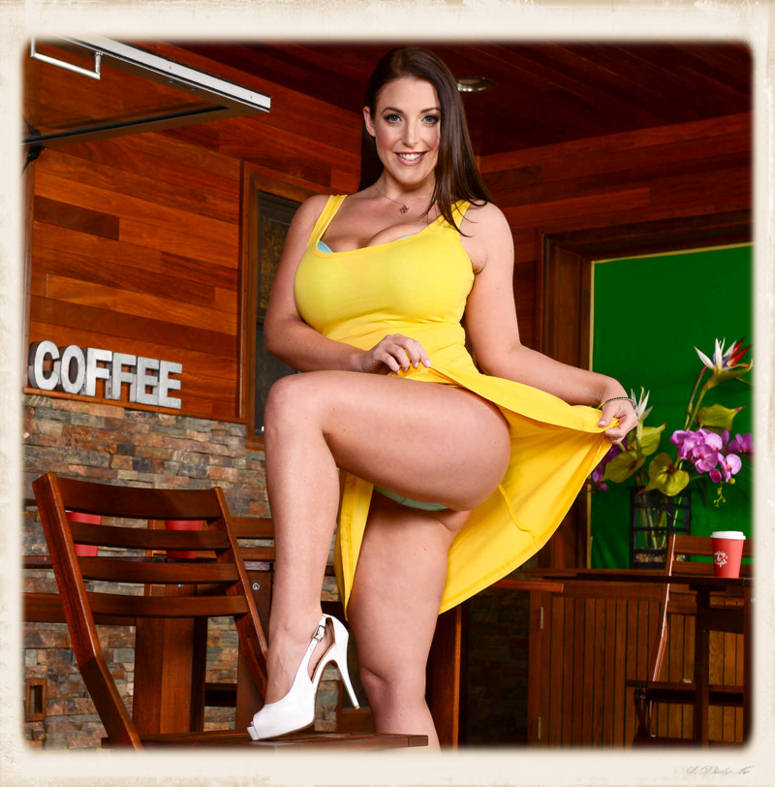 Angela White lifts up her dress