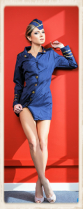 Gina Gerson as stewardess in porn movie