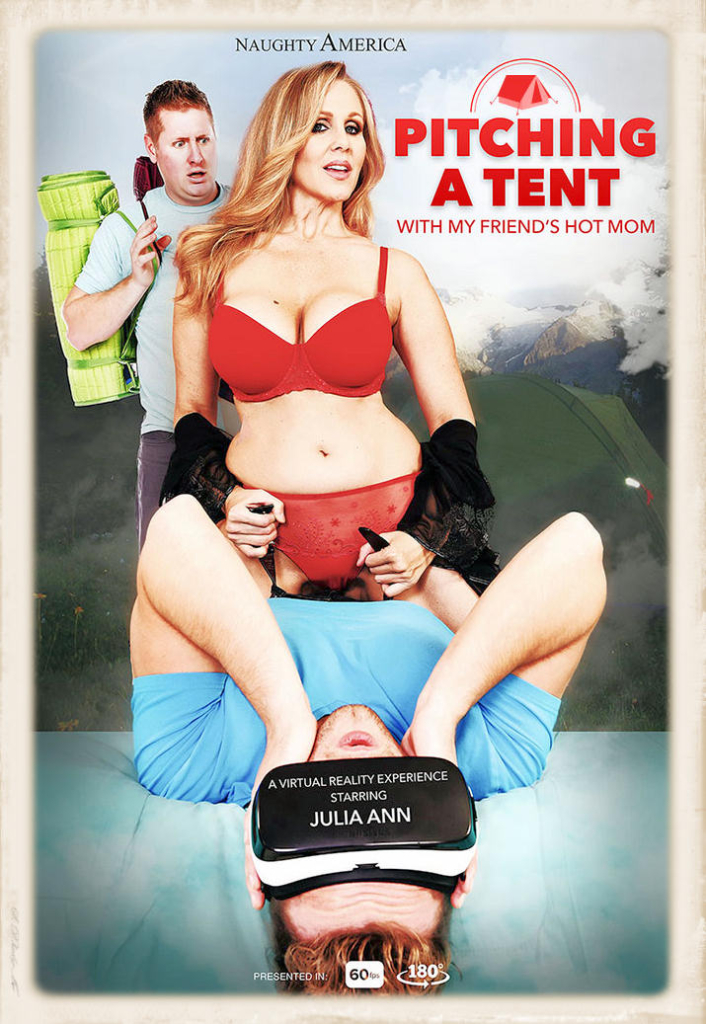 Naughty America VR full-sized promo graphic for Julia Ann's Pitching A Tent release