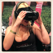 Kylie Page watches her VR porn at the 2017 AVN Awards