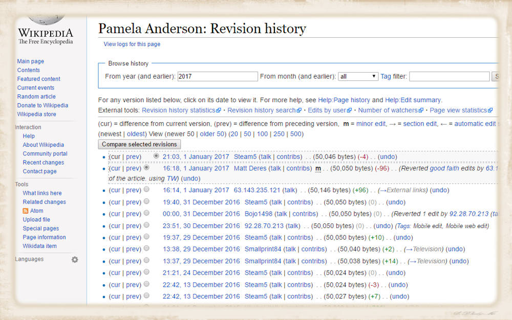 Pamela Anderson revision history