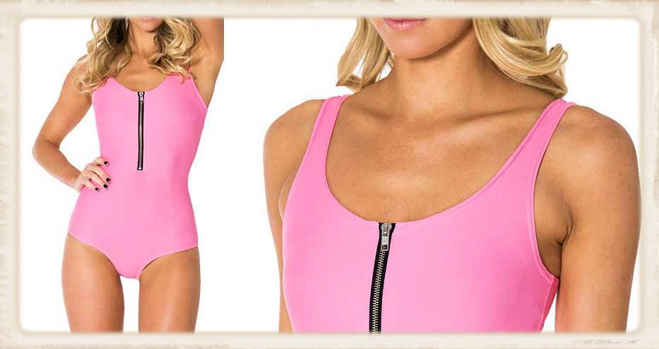 blonde in a pink one piece bodysuit