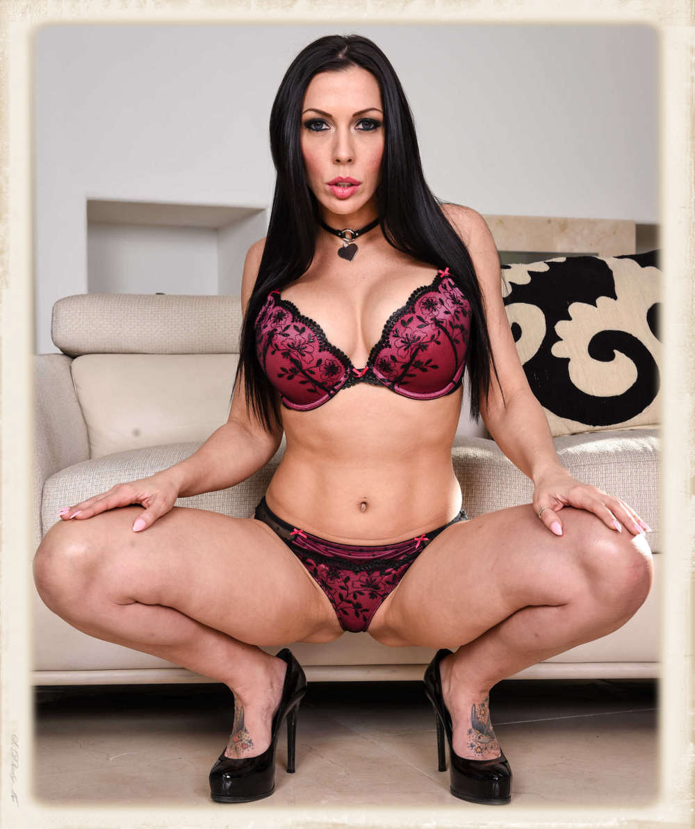 Rachel Starr bra and panties with her legs spread