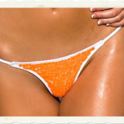 front of orange bikini