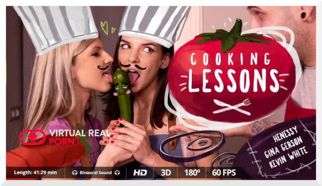 Gina Gerson and Hennesy in Cooking Lessons