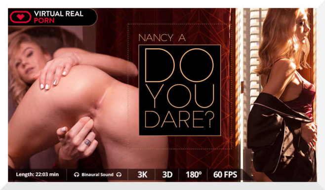 Horny solo action from blondie Nancy A in Virual Real Porn's movie, Do You Dare