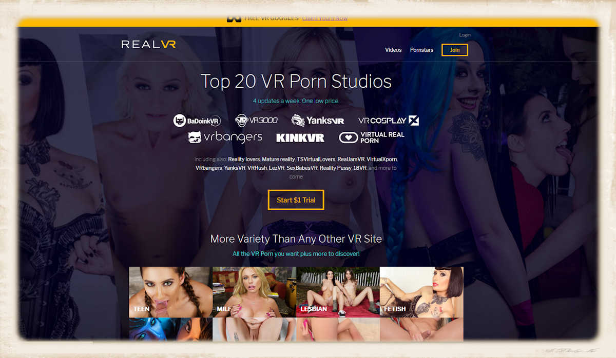 RealVR gives the horny 3D porn seeking consumer access to movies from 20 different studios