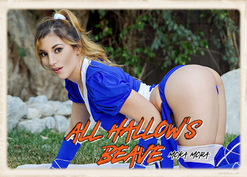 Slender beauty Moka Mora stars in BaDoinkVR's latest Halloween release
