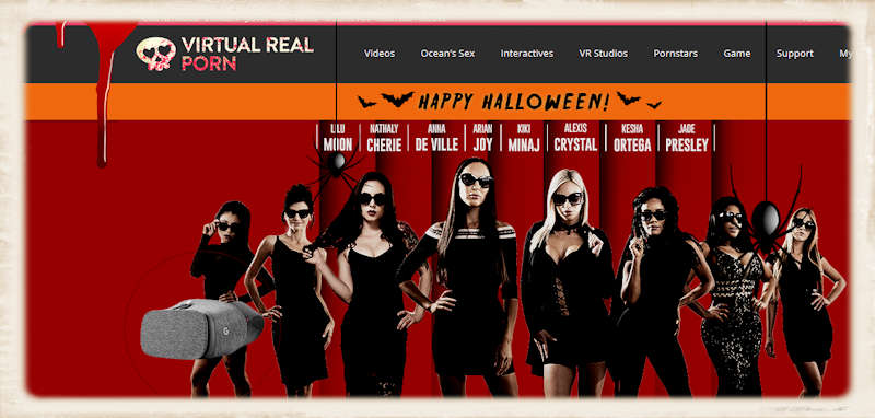 The Virtual Real Porn gang added some special effects to their Halloween homepage this year