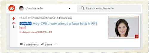 Oculus NSFW subreddit provides feedback about potential VR porn ideas
