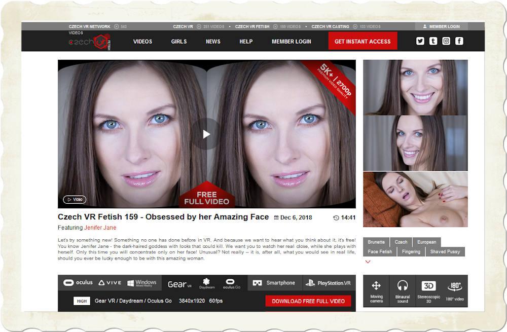 complete screenshot of CzechVR website page for free Jennifer Jane face fetish release