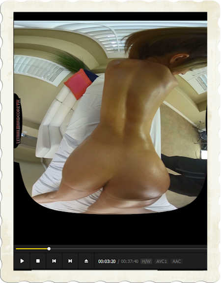 Moka Mora on massage table bodyscan in a 3D porn movie from LethalHardcoreVR