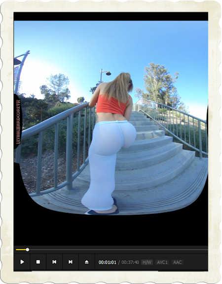 Moka Mora walks spandex ass up staircase for LethalHardcoreVR