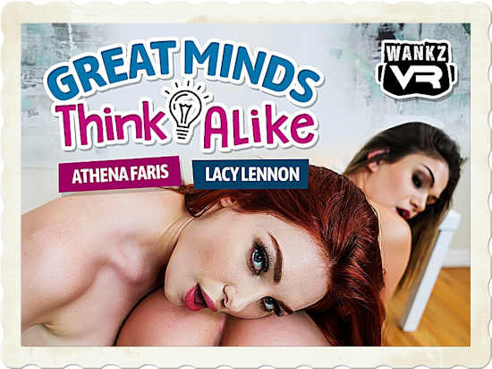 Athena Faris joins Lacy Lennon in the new WankzVR release, Great Minds Think Alike