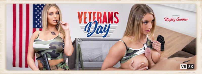Kayley Gunner smoking in Veterans Day for VR Bangers