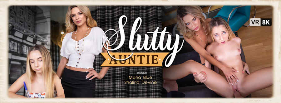 Slutty Auntie starring Mona Blue and Shalina Devine for VR Bangers