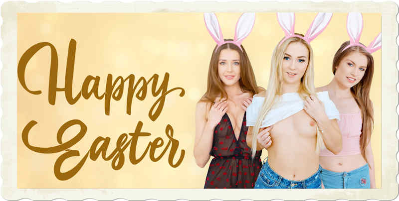 Easter 2021 VR porn specials header graphic three pornstars