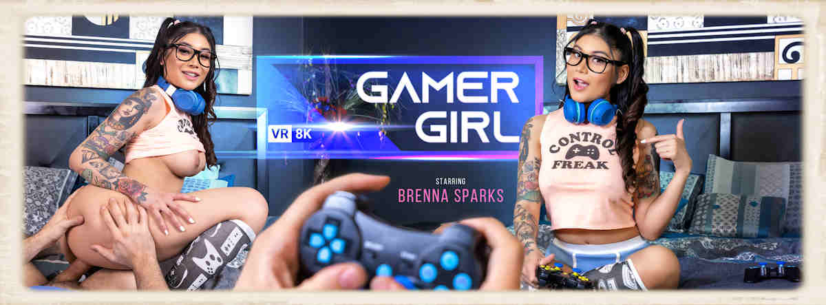 Gamer Girl starring Brenna Sparks for VR Bangers